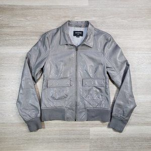 Nixon Gray Faux Leather Rider Jacket Small